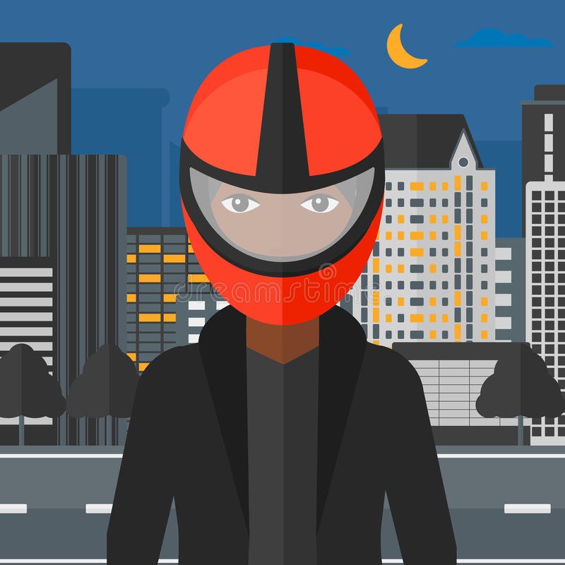 Woman in biker helmet. An african-american woman in biker helmet on the background of night city vector flat design illustration. Square layout vector illustration