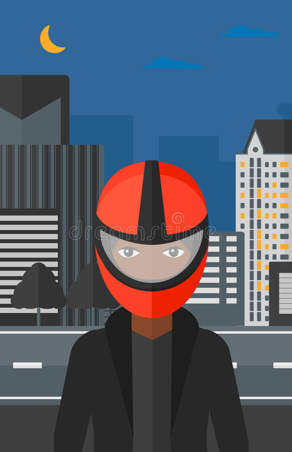 Woman in biker helmet. An african-american woman in biker helmet on the background of night city vector flat design illustration. Vertical layout vector illustration