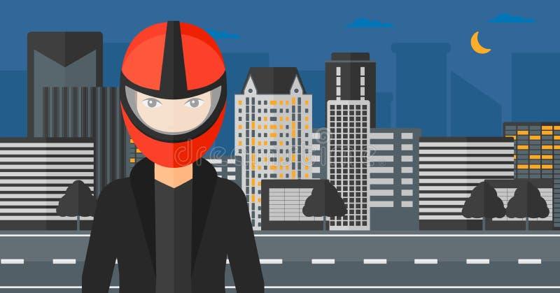 Woman in biker helmet. A woman in biker helmet on the background of night city vector flat design illustration. Horizontal layout vector illustration