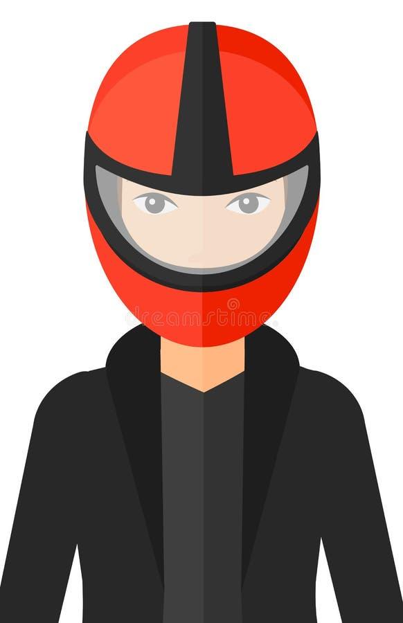 Woman in biker helmet. A woman in biker helmet vector flat design illustration isolated on white background stock illustration