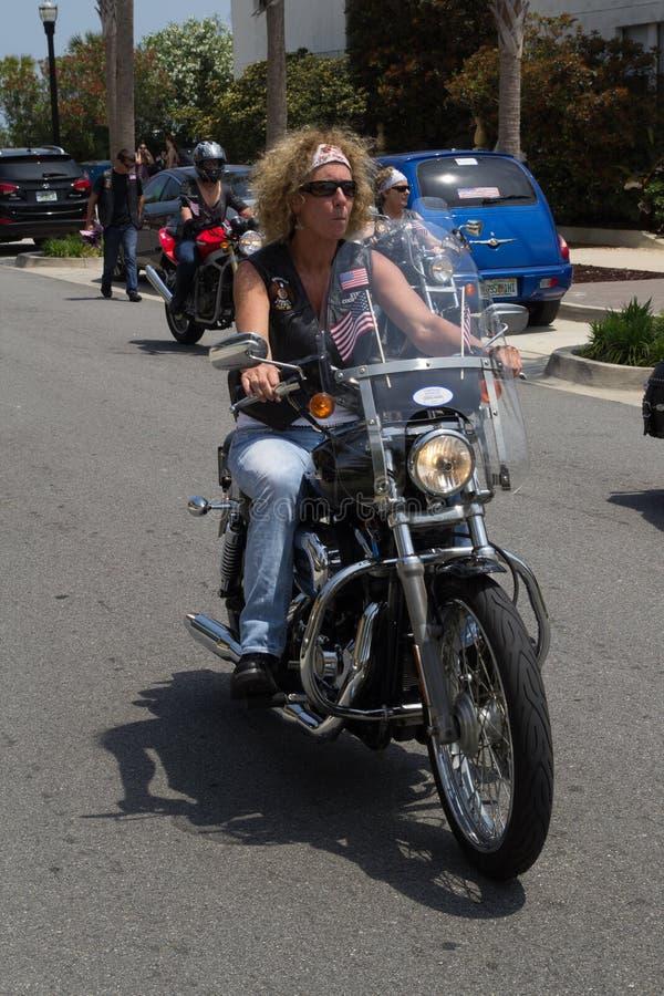 Woman Biker royalty free stock image