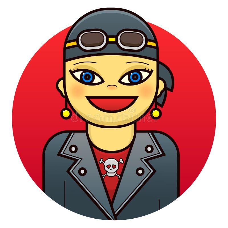 Woman biker vector illustration. Smiling woman biker in leather jacket, vector illustration in line art style vector illustration
