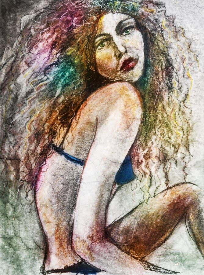 Abstract woman in bikini art stock images