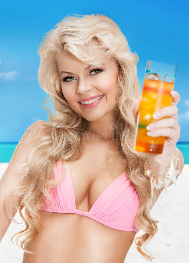Download Woman In Bikini With Cocktail Stock Image - Image: 38095695