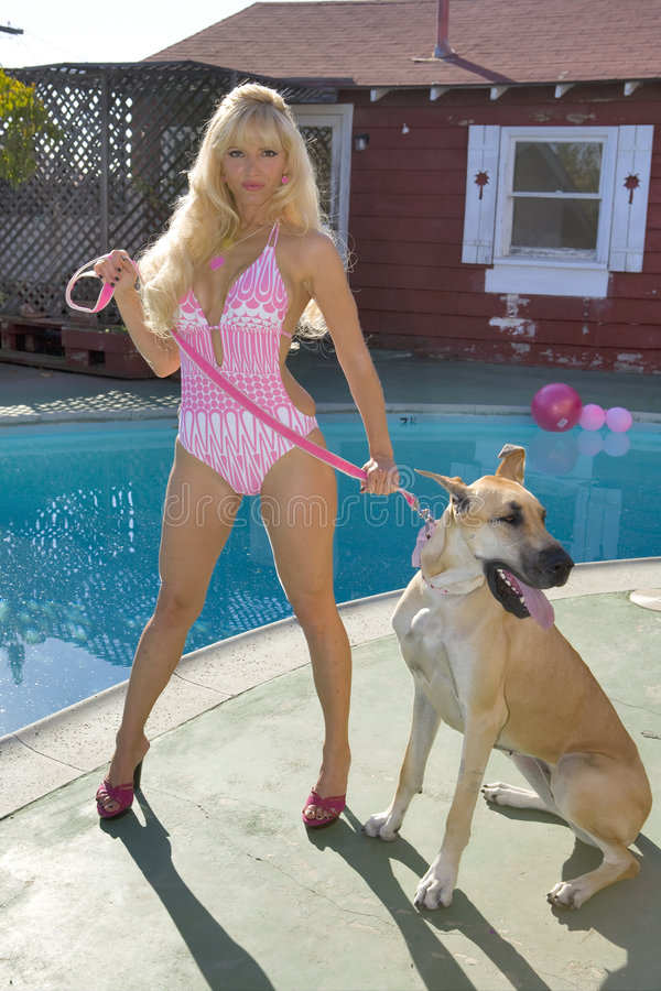 Woman in a Bikini with Dog. Blond Woman in a Pink Bikini with a Great Dane Dog stock images