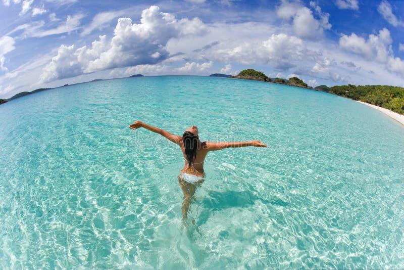 Woman bikini freedom stock images