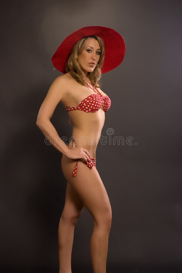 Woman In Bikini And Hat stock image