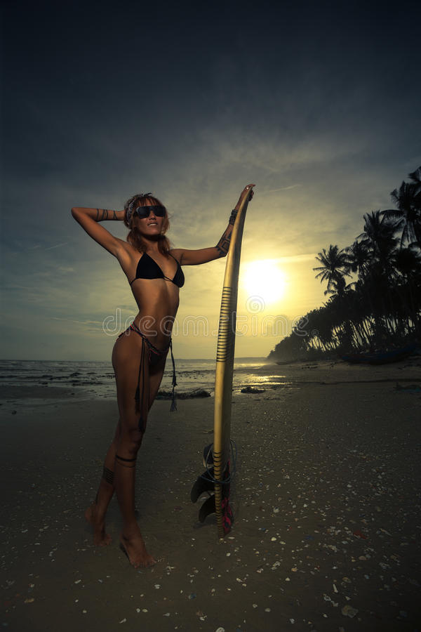 Woman in bikini with her surfboard royalty free stock images