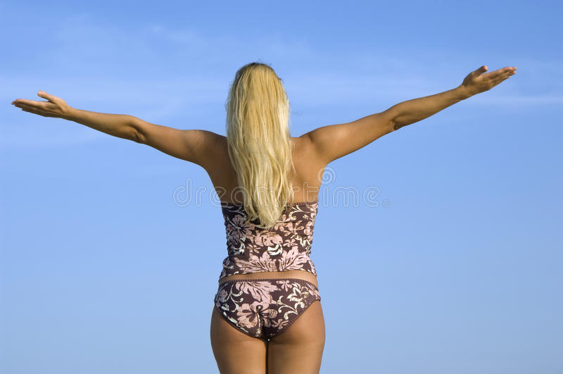 Download Woman In Bikini With Raised Hands Stock Photo - Image: 18197418