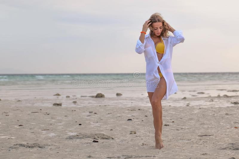 Woman in bikini at tropical beach stock photography