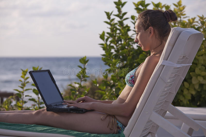 Download Woman In Bikinis With Laptop Stock Image - Image: 11106145