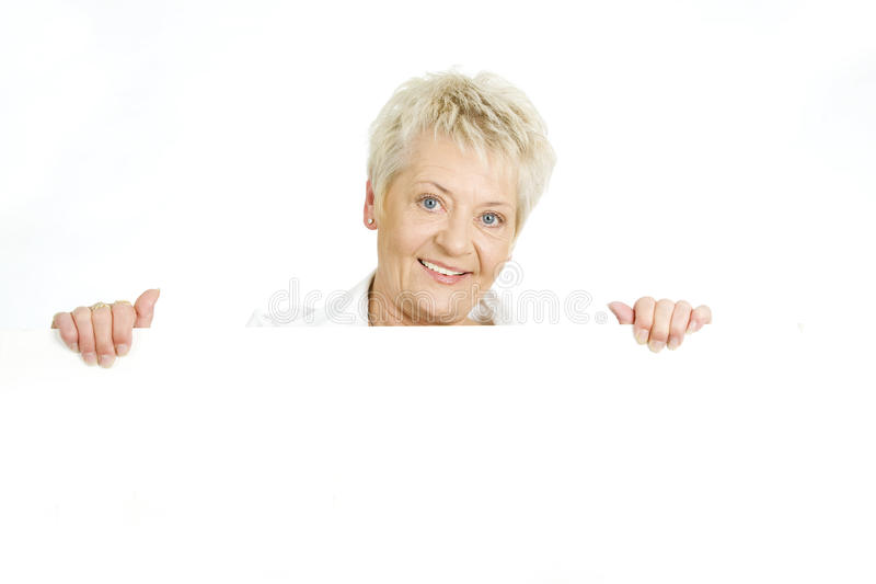 Woman with a billboard stock photo