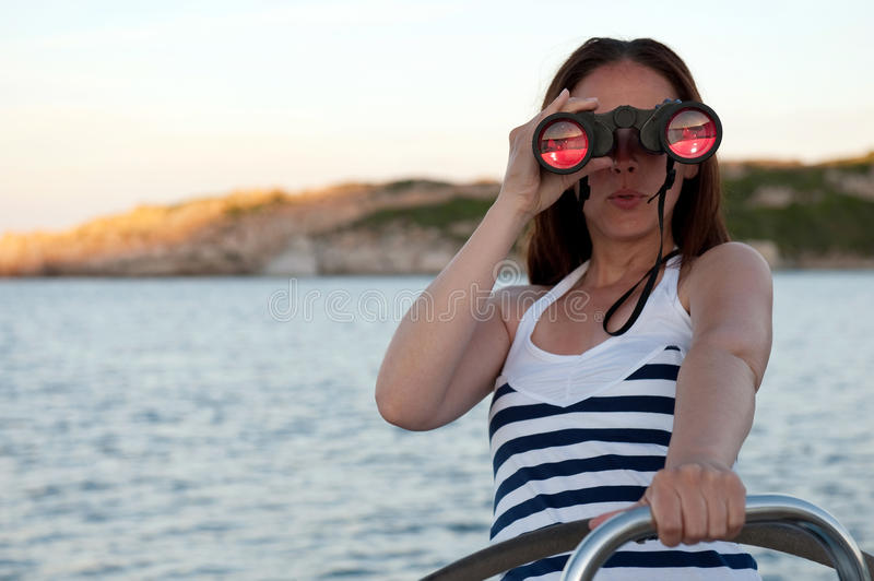 Download Woman with binocular stock image. Image of paradise, relaxation - 15446723