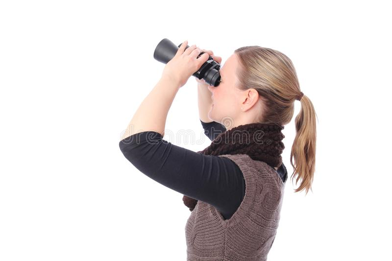 Woman With Binoculars From Side Stock Photos