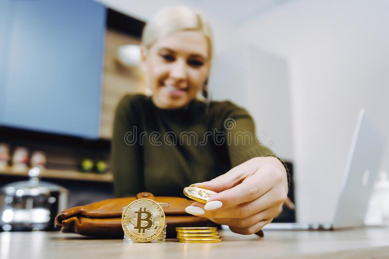 Woman bitcoin trading royalty free stock images
