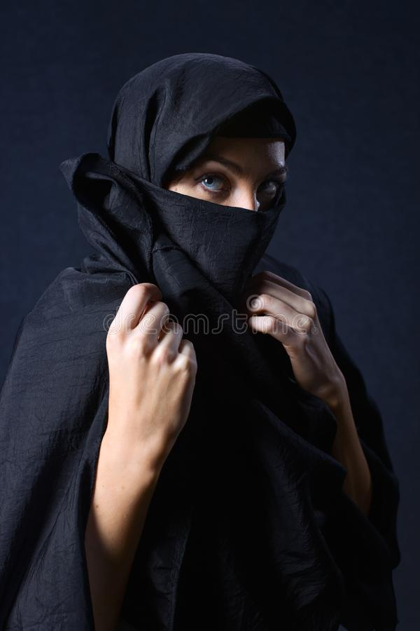 Woman in  black royalty free stock photos