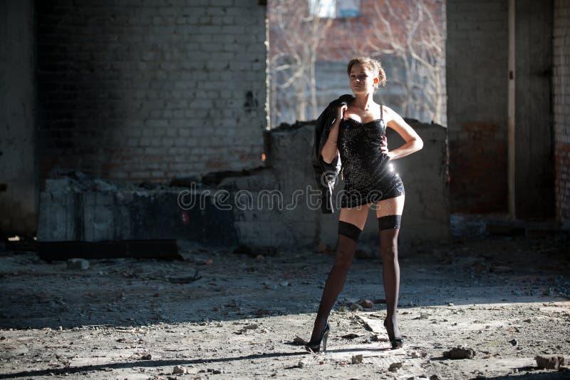 Woman in black stock photos