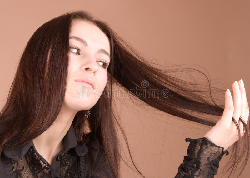 Download Woman in black stock image. Image of brown, background - 2450203