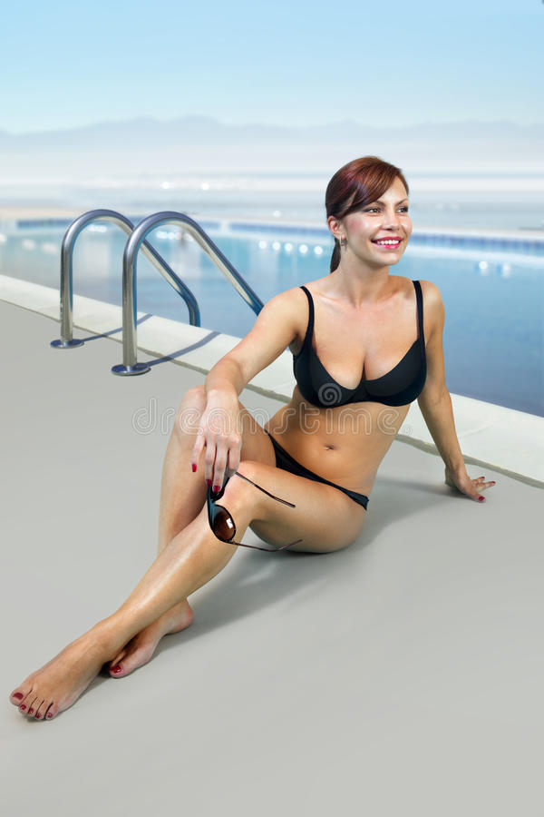 Download Woman In Black Bathing Suit On Beach L Stock Images - Image: 24929164