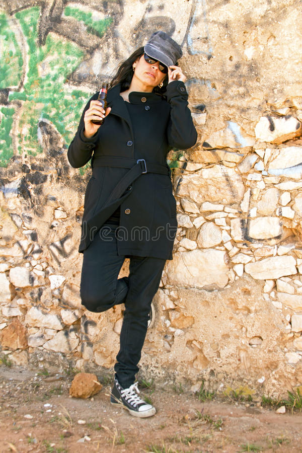 Download Woman In Black At A Brick Wall Stock Image - Image of caucasian, floor: 38126979