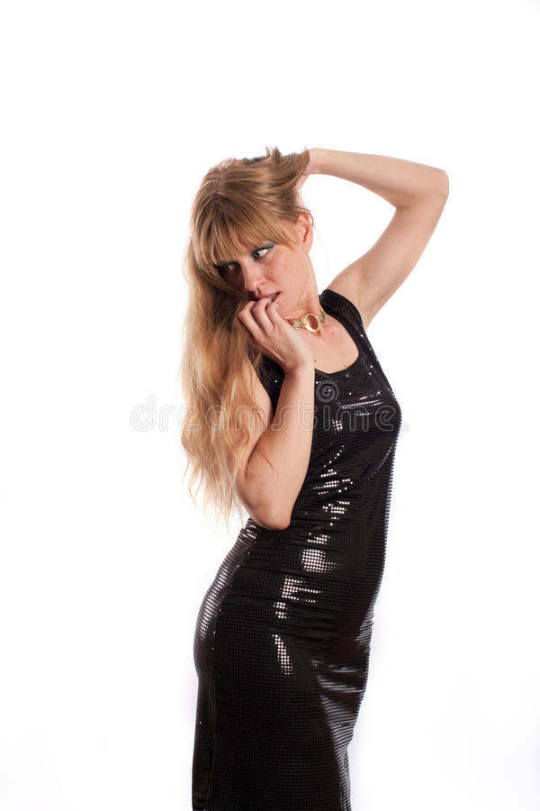 Download The Woman In A Black Brilliant Dress Stock Photo - Image: 25495674