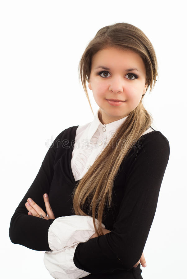 Woman in a black business suit royalty free stock photos