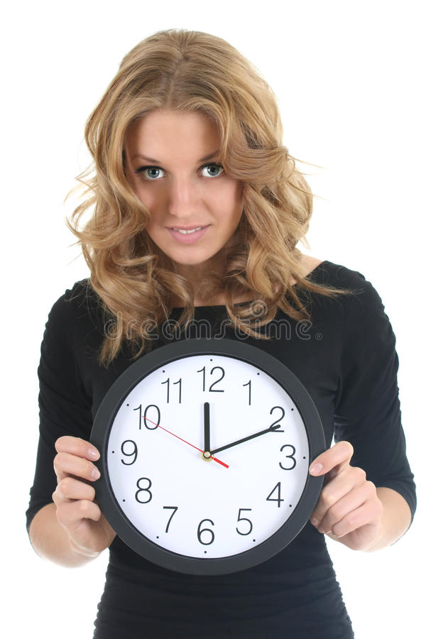 Download Woman in black with clock stock image. Image of beautiful - 19072465
