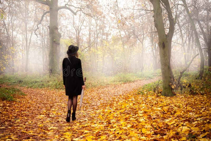 Girl in the park in the fog. Woman in a black coat and hat in foggy weather stock photos