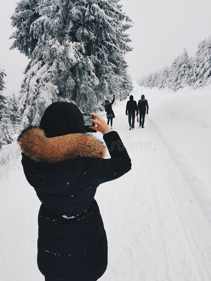 Woman in Black Coat Taking a Picture of Three Person in Front of Her While Walking Through Snow Field royalty free stock images