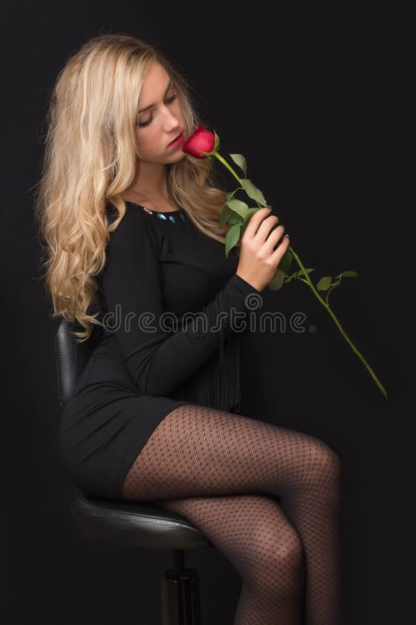 Woman In Black Dress Holding Red Rose Free Public Domain Cc0 Image