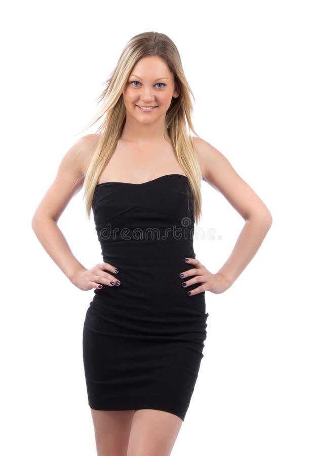 Download Woman In Black Dress Walking Smiling Stock Image - Image: 25472225