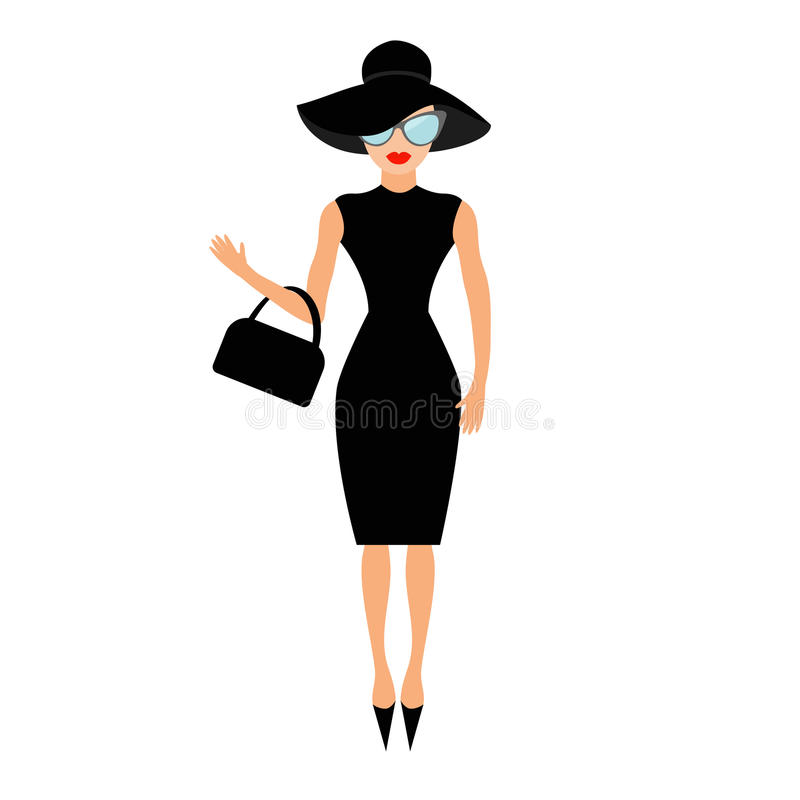 Woman in black elegant hat, bag and sunglasses waving. Rich and beautiful celebrity girl. Beauty fashion model face red lips. stock illustration