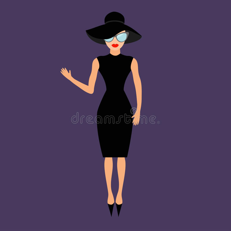 Woman in black elegant hat and sunglasses waving. Rich and beautiful celebrity girl. royalty free illustration