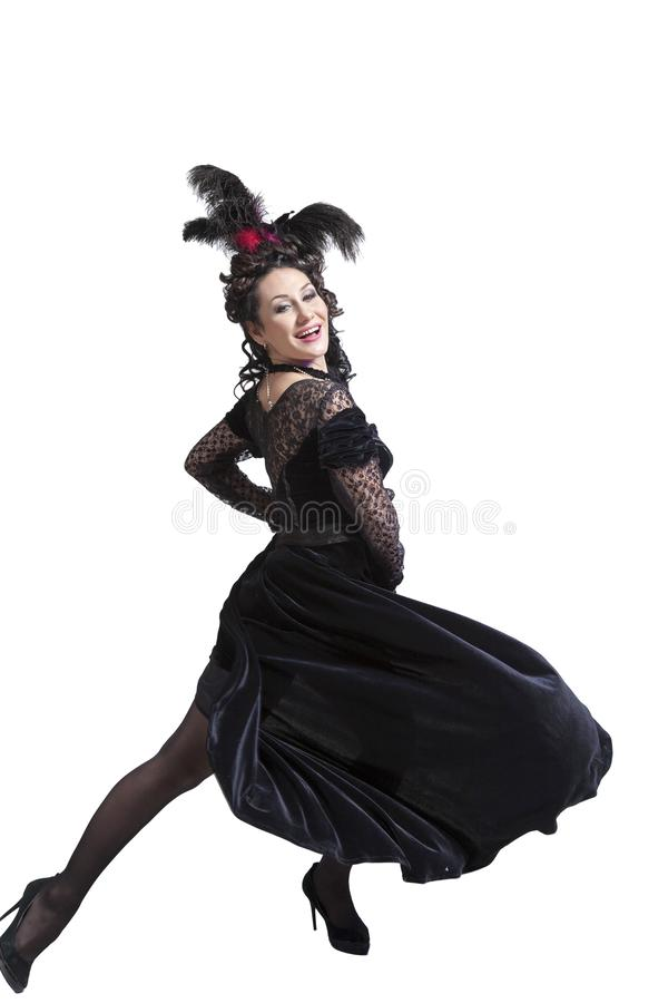 Woman in a black fairy dress royalty free stock photo