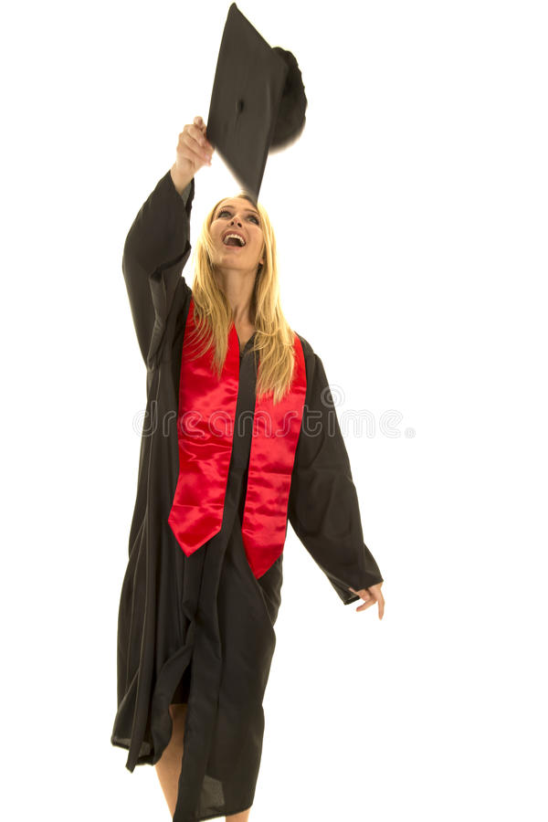 Woman In Black Graduation Gown Throwing Cap Stock Image - Image of ...