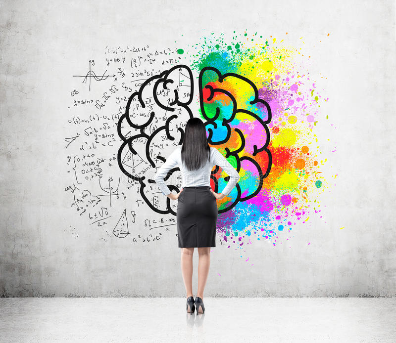 Woman with black hair and big brain sketch. Rear view of woman with black hair looking at brain sketch with one hemisphere colored brightly and the second