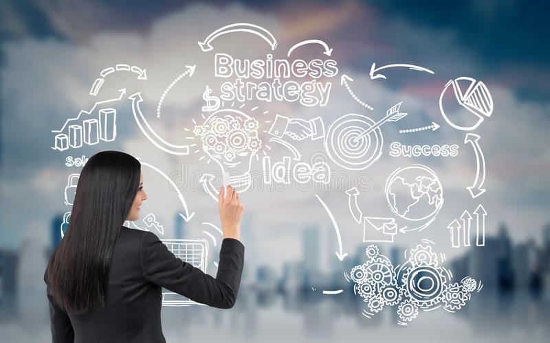 Woman with black hair drawing startup sketch in the air. Rear view of woman drawing a startup sketch. Large blurred city is seen in the background. Concept of royalty free stock photo