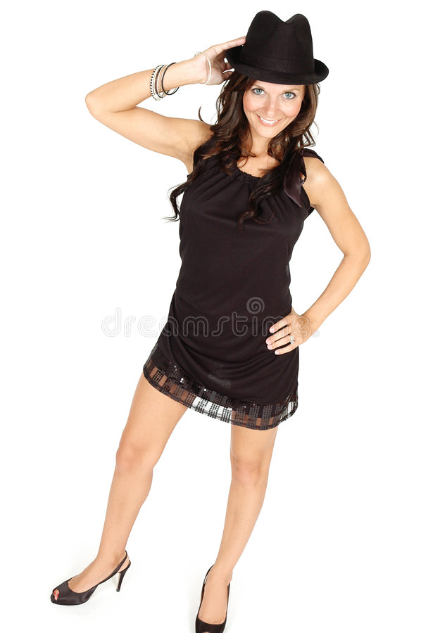 Download Woman with Black Hat stock image. Image of brunette, legs - 9157411