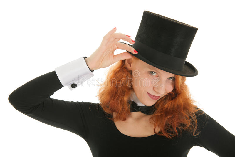 Woman with black hat royalty free stock photo
