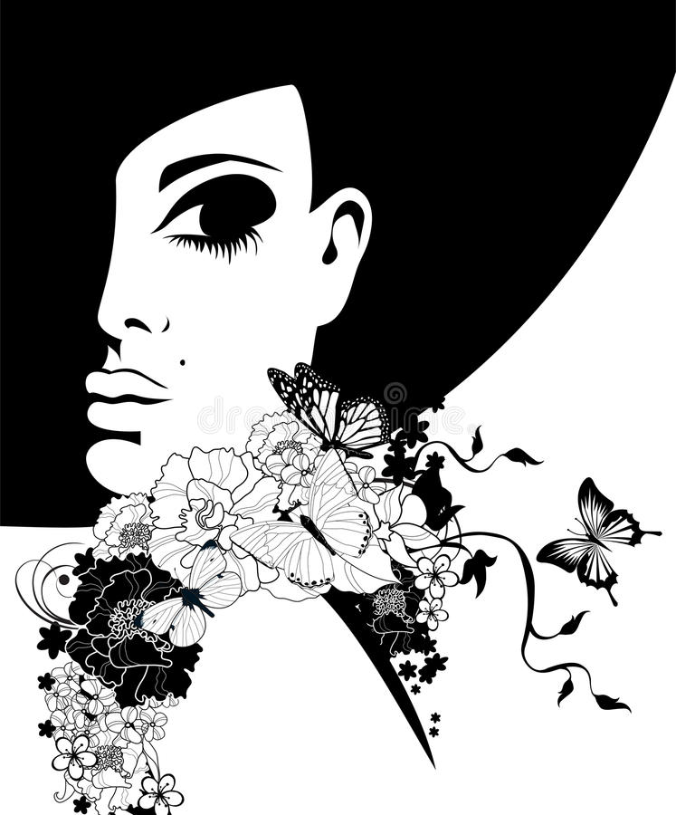 Woman in a black hat with flowers and butterflies royalty free illustration