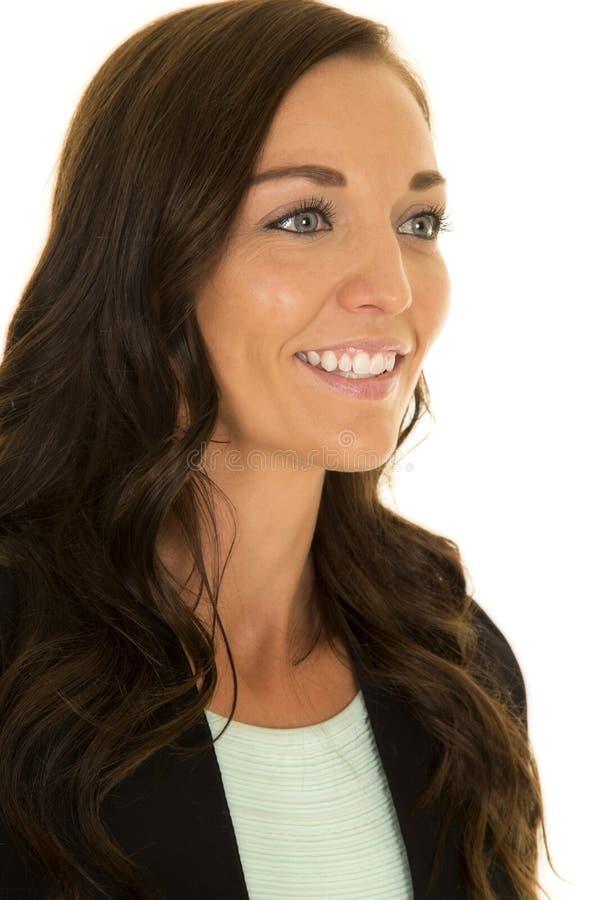 Woman black jacket portrait smile stock photos