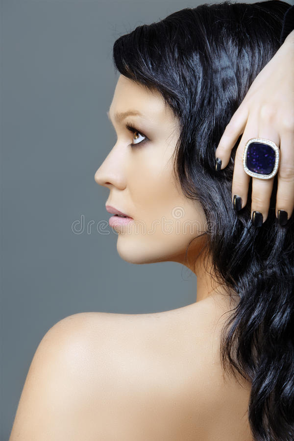 Woman With Black Manicure Royalty Free Stock Images