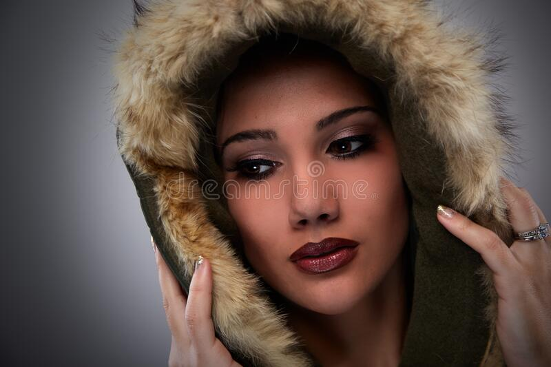 Woman On Black Mascara Red Lipstick Cover Her Face With Brown Fur Coat Free Public Domain Cc0 Image