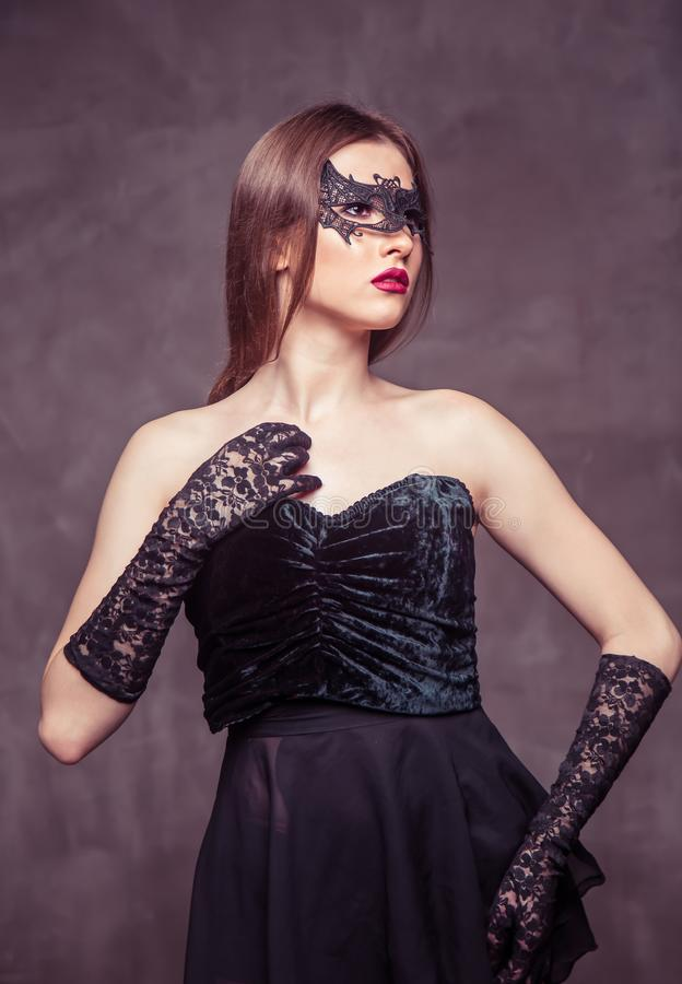 Woman in Black Mask royalty free stock photography