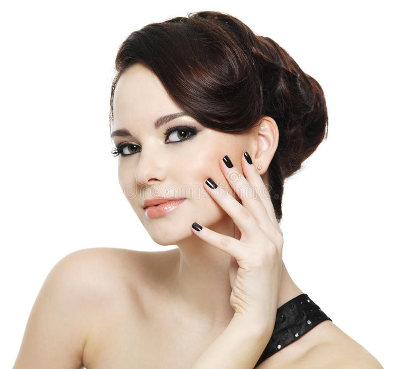 Woman With Black Nails And Bright Eye Make-up Royalty Free Stock Photo