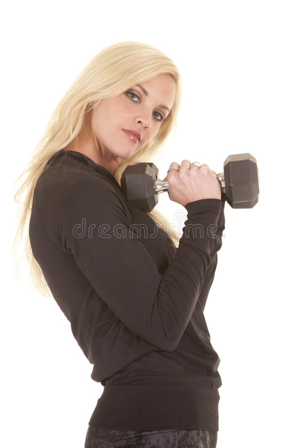 Download Woman Black Outfit Fitness Weights Stock Image - Image: 27330579