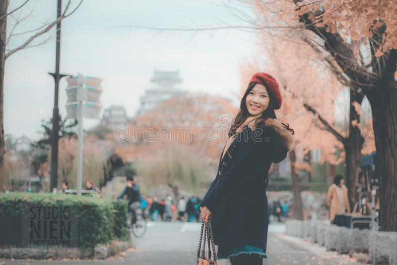Woman Black Parka Jacket stock photography