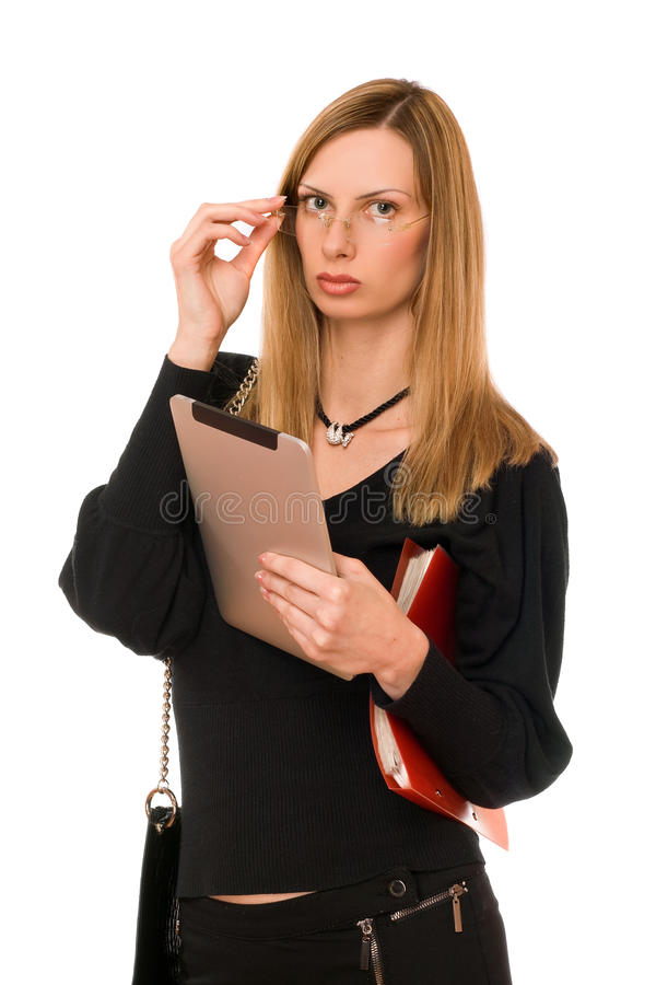 Woman In Black With The Pda Royalty Free Stock Image