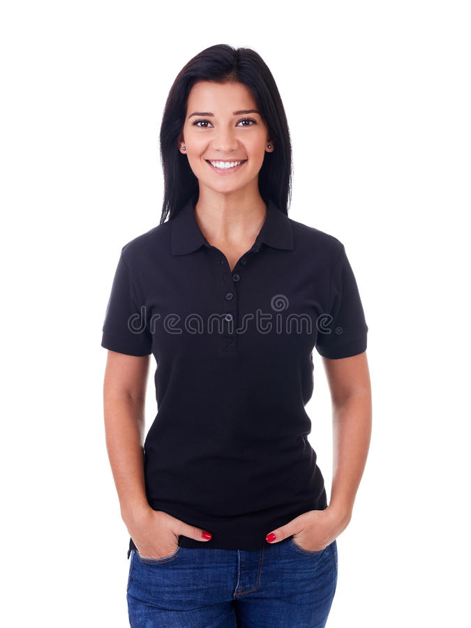 Woman in black polo shirt. Happy woman in black polo shirt on a white background royalty free stock images