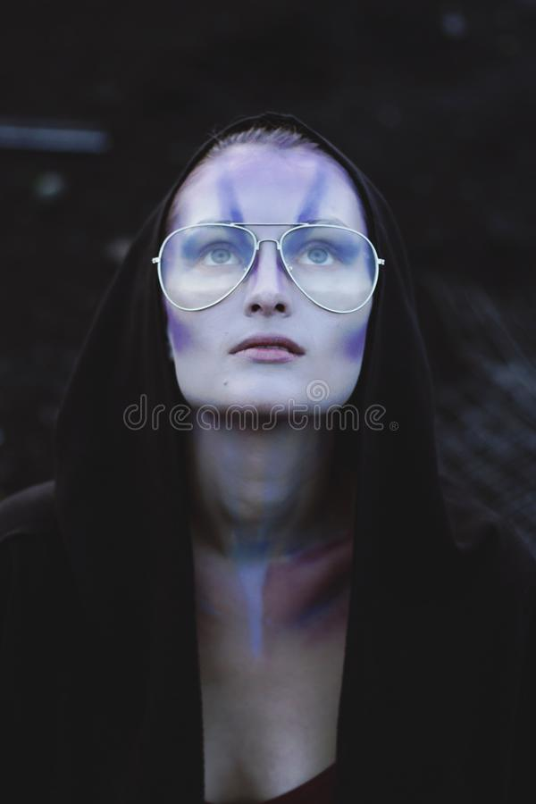Woman With Black Pullover Hoodie With Gold Aviator-style Eyeglasses royalty free stock photos